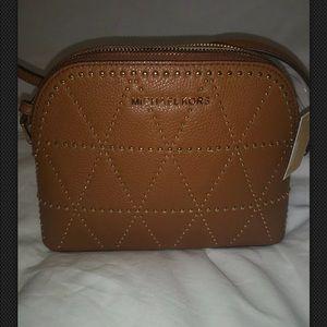 Michael Kors Adele Luggage Brown Leather Dome.